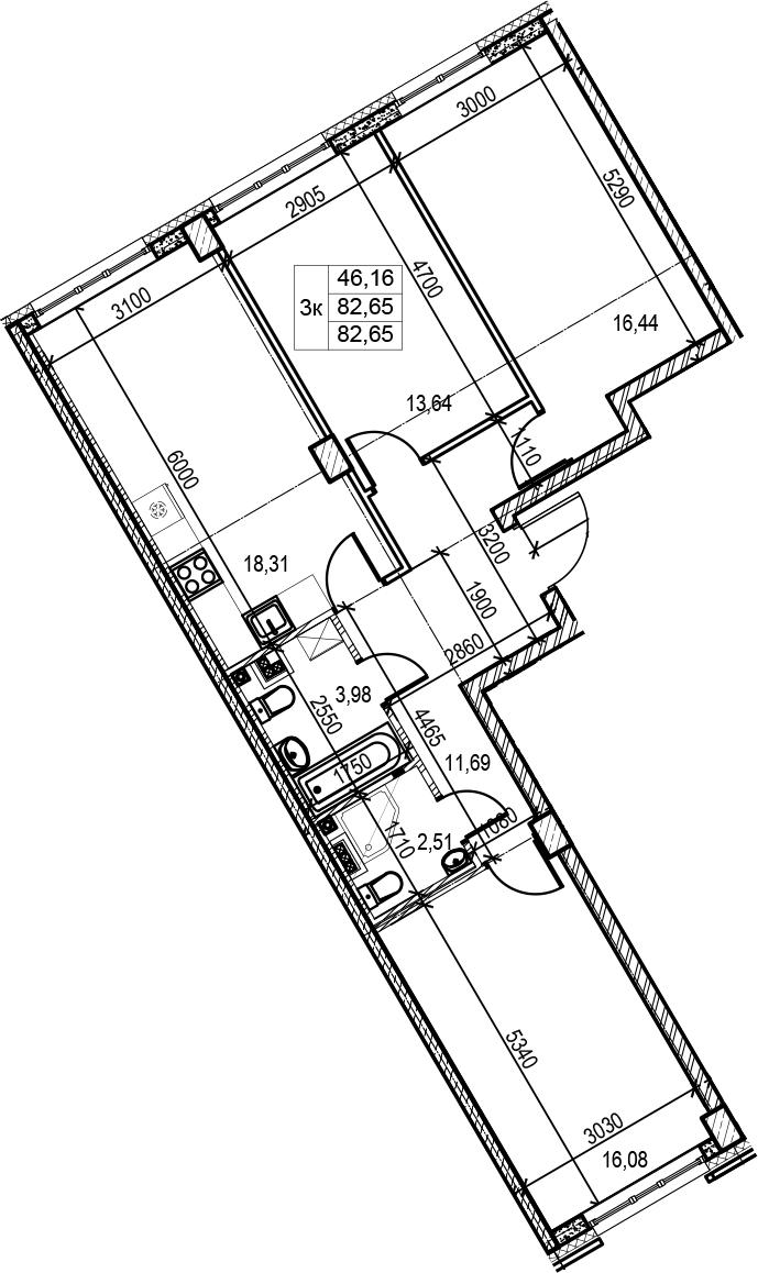 4Е-комнатная, 82.65 м²– 2