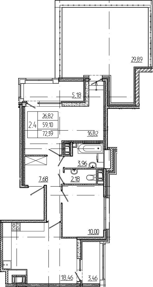 3Е-к.кв, 59.1 м², 12 этаж