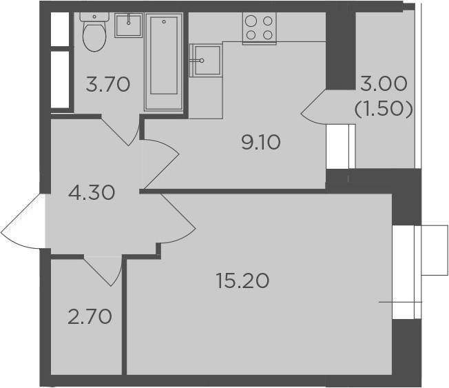 1-комнатная, 36.5 м²– 2