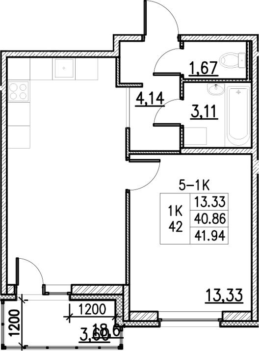 2Е-комнатная, 41.94 м²– 2