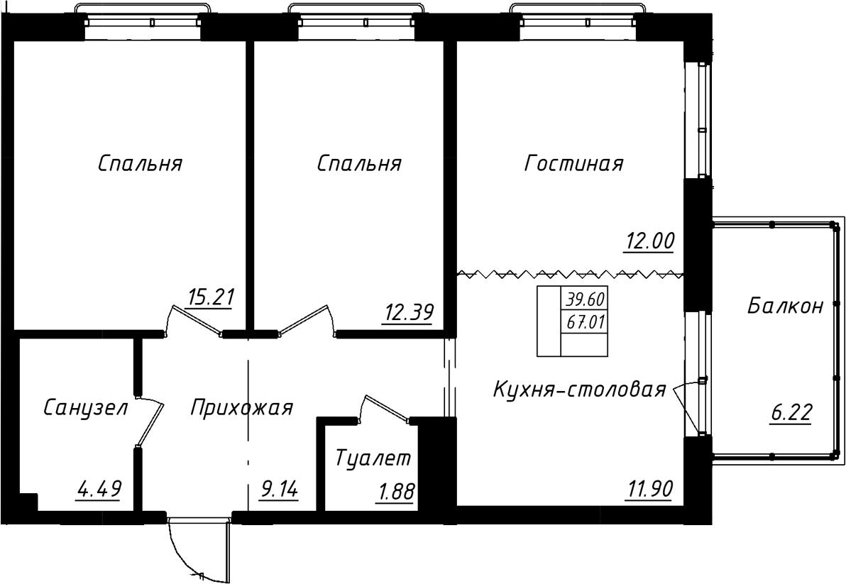 3Е-комнатная, 68.88 м²– 2