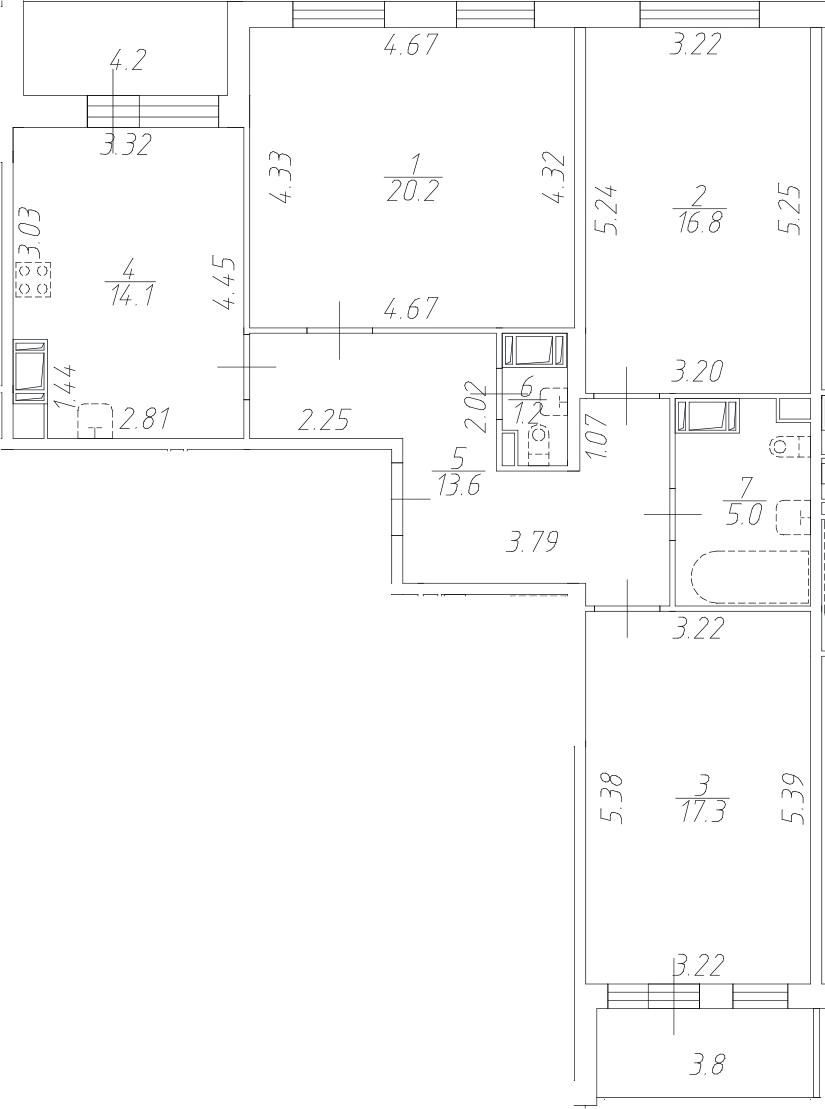 3-к.кв, 88.2 м², 4 этаж