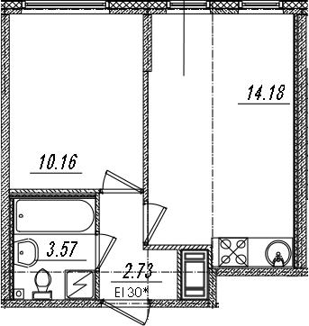 2Е-к.кв, 30.64 м²