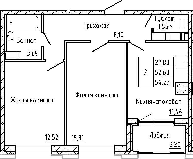2-к.кв, 55.83 м²