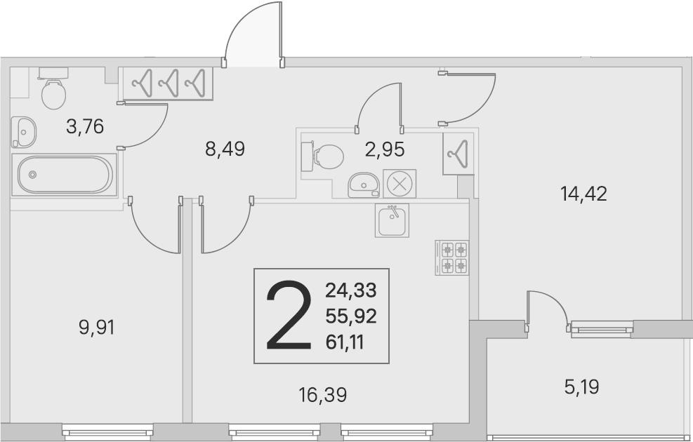 3Е-к.кв, 55.92 м², 2 этаж