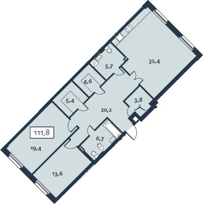 3-к.кв (евро), 111.75 м²