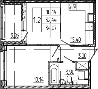 2Е-к.кв, 32.44 м²