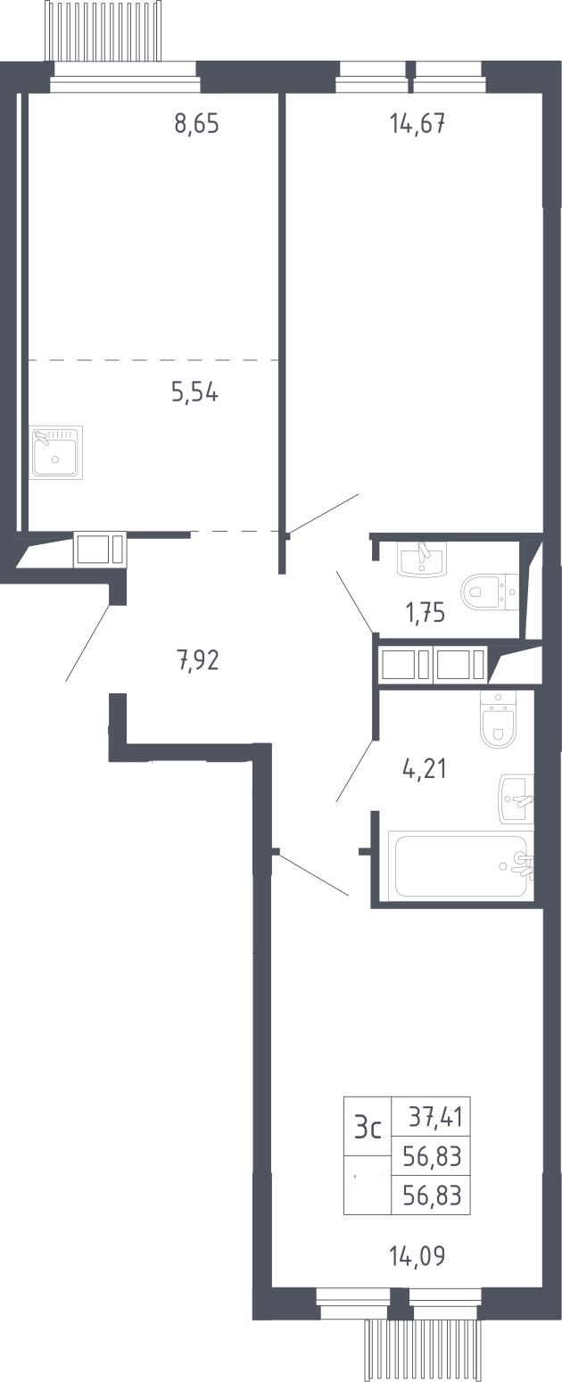 3Е-к.кв, 56.83 м², 2 этаж