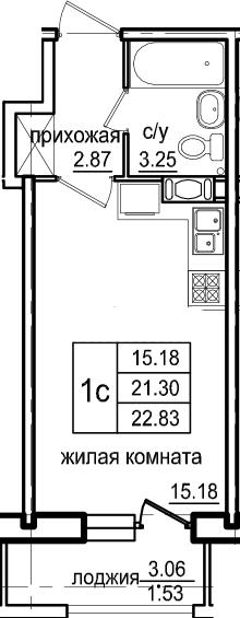 Студия, 22.83 м², 10 этаж
