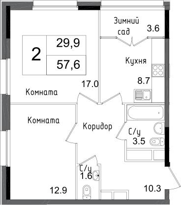 2-комнатная квартира, 57.6 м², 23 этаж – Планировка