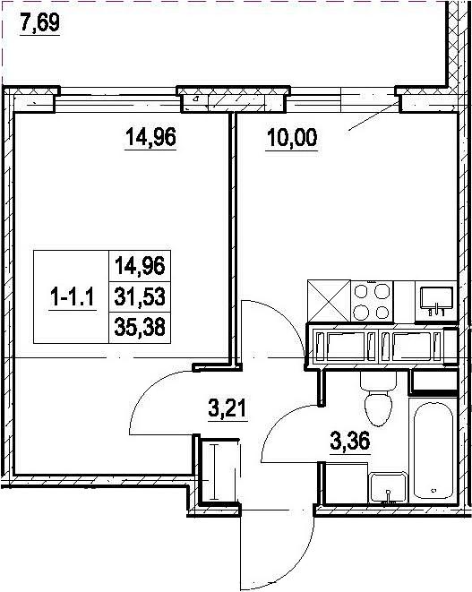 1-к.кв, 38.69 м²