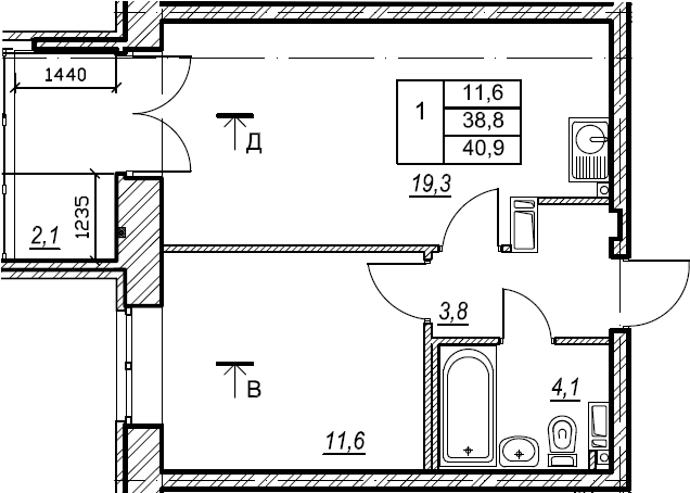 1-комнатная, 40.9 м²– 2