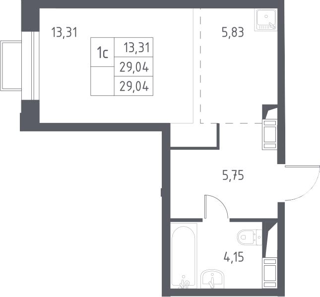 Студия, 29.04 м², 13 этаж – Планировка