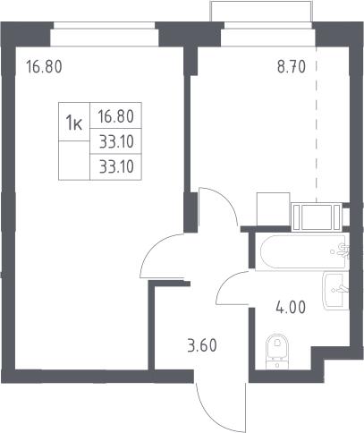 1-к.кв, 33.1 м², 10 этаж