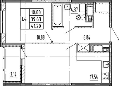 2Е-к.кв, 39.63 м², от 18 этажа
