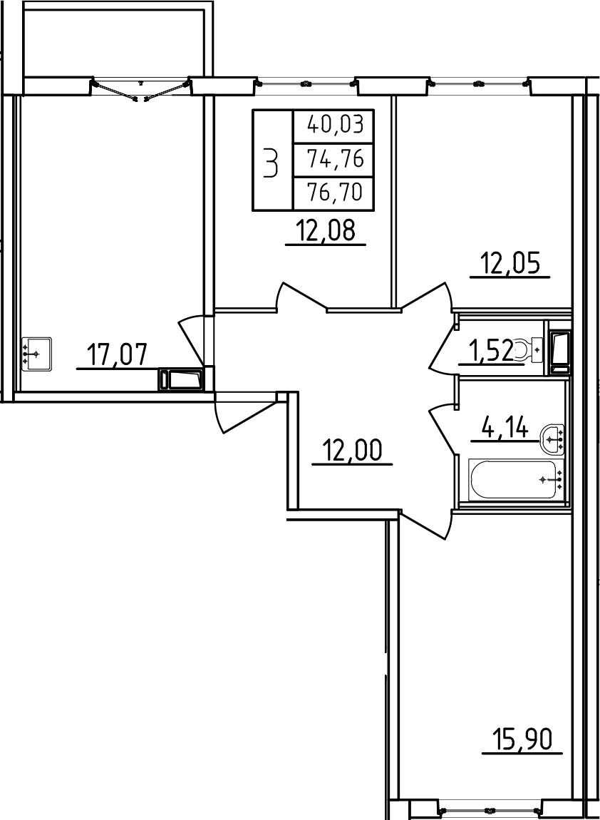 4-к.кв (евро), 78.64 м²