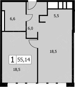 2-к.кв (евро), 54.3 м²