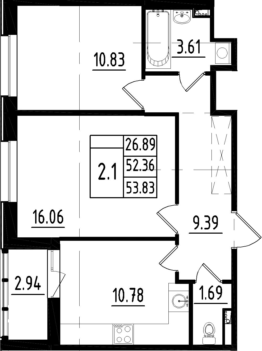 2-к.кв, 55.3 м²