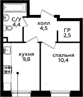 1-комнатная, 31.6 м²– 2