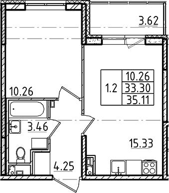 2Е-к.кв, 33.3 м², 3 этаж