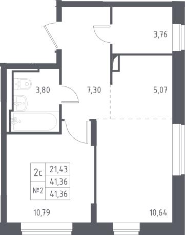 2Е-к.кв, 41.36 м², 13 этаж