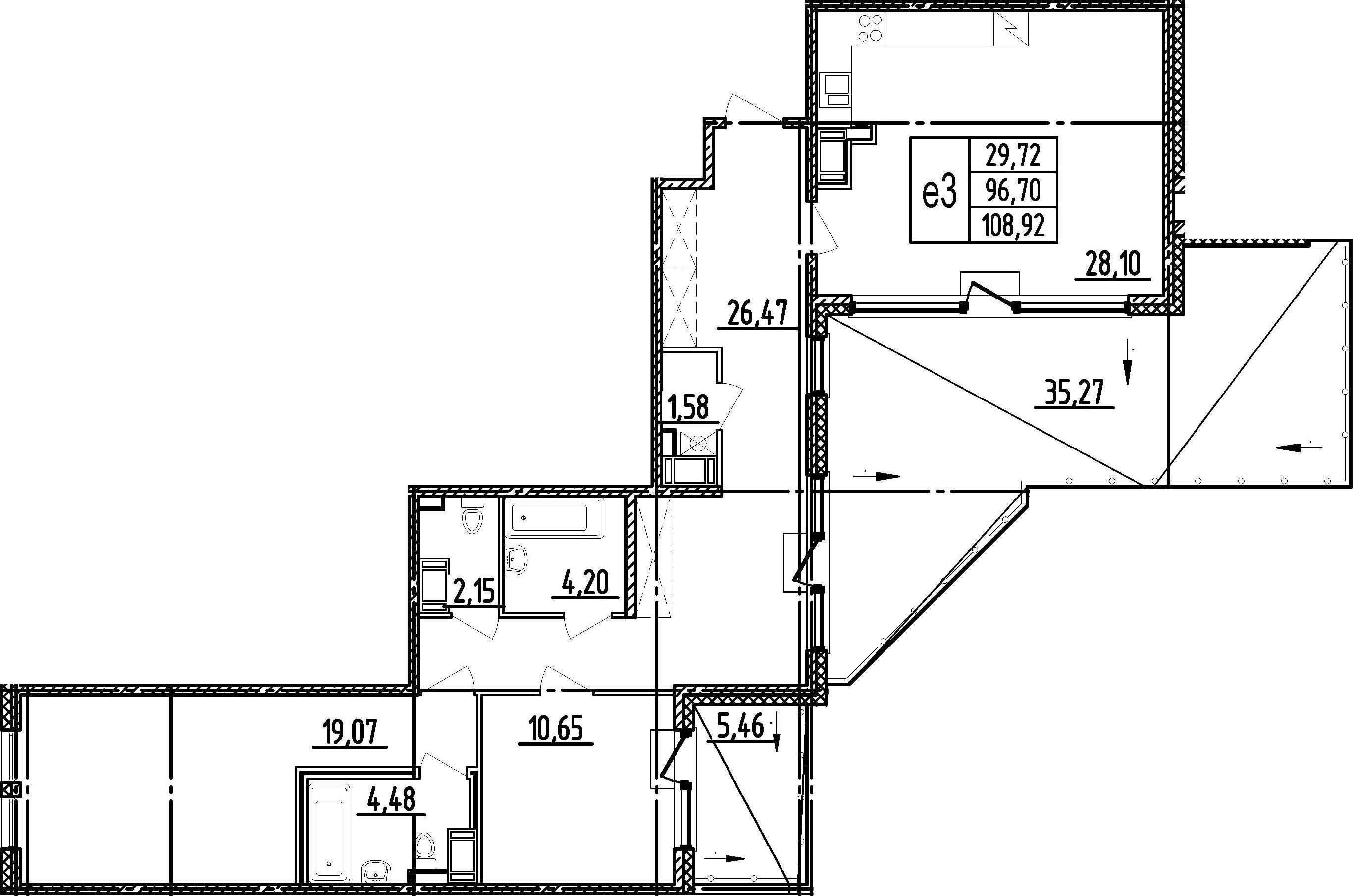 3Е-комнатная, 96.7 м²– 2