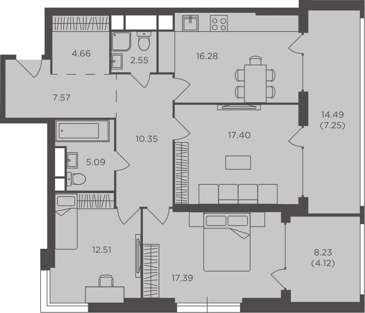 3-к.кв, 105.17 м², от 3 этажа