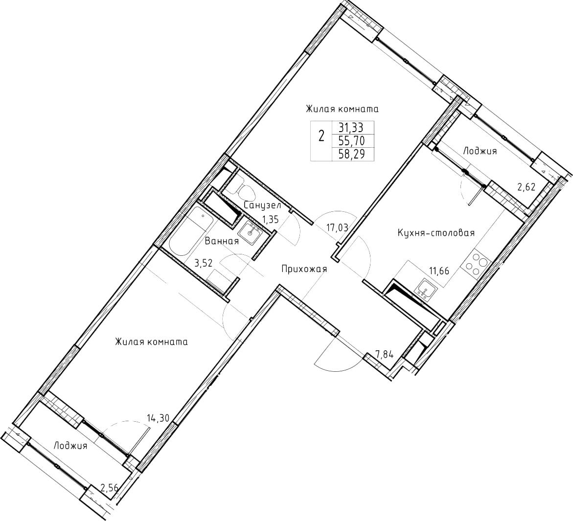 2-к.кв, 58.29 м², 6 этаж