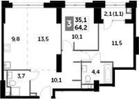 4Е-комнатная, 64.2 м²– 2