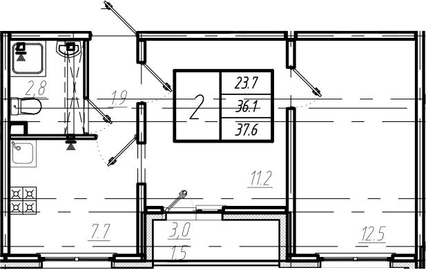 2-к.кв, 37.6 м²
