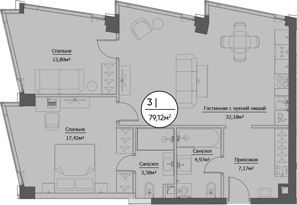 3Е-к.кв, 79.12 м²