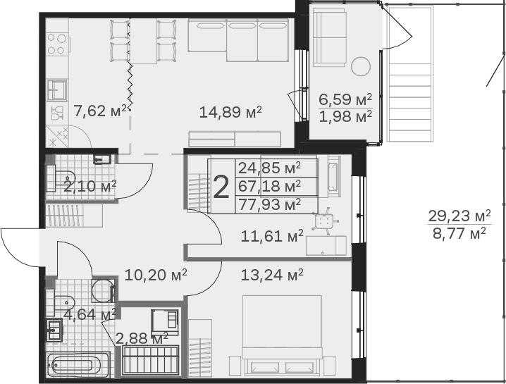 3Е-к.кв, 77.93 м², 1 этаж