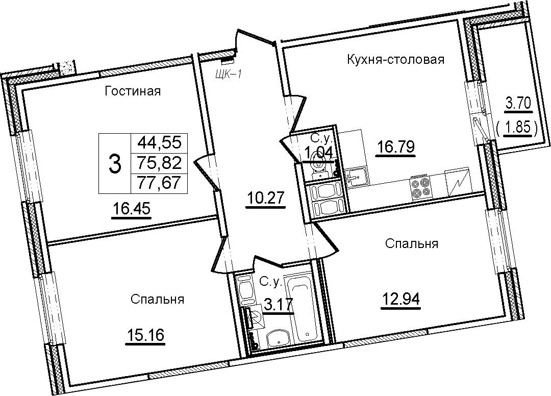 4Е-к.кв, 77.67 м², от 7 этажа