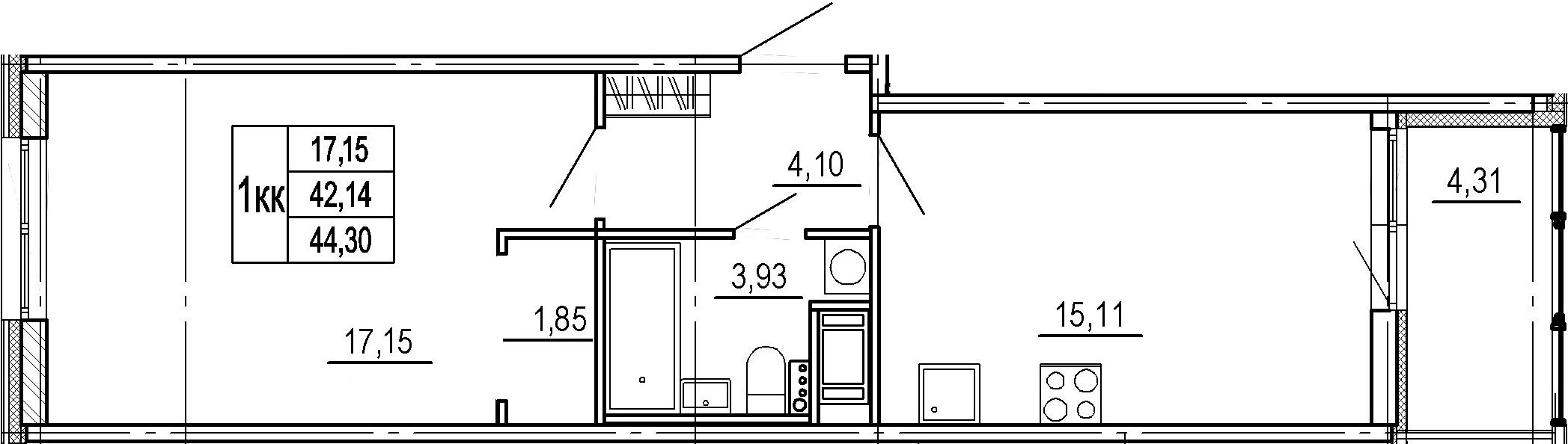 2Е-комнатная, 42.14 м²– 2