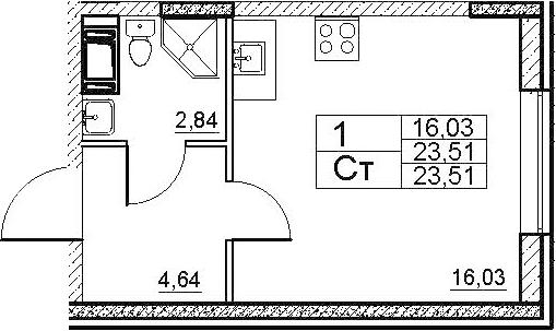 Студия, 23.51 м²