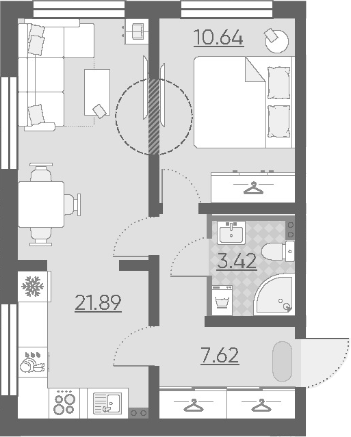 2-к.кв (евро), 43.57 м²
