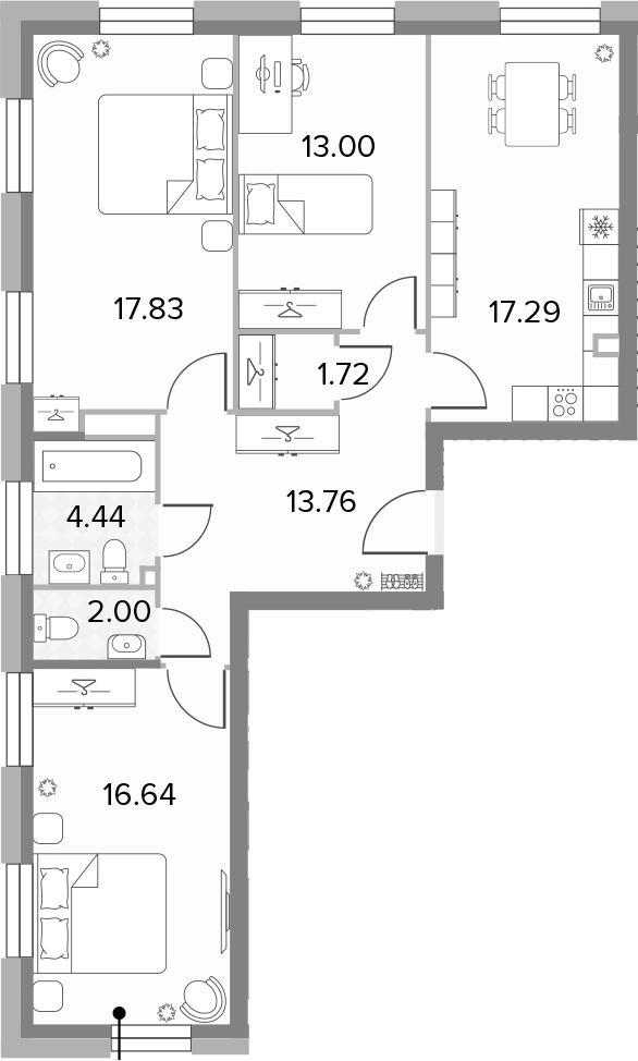 4Е-комнатная, 86.68 м²– 2