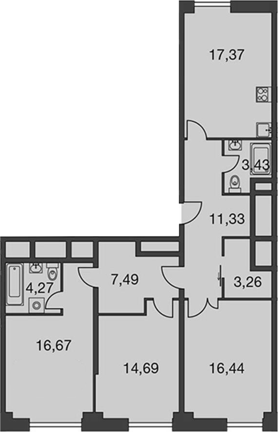 4Е-комнатная, 98.54 м²– 2