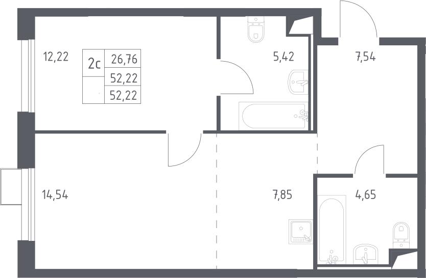 2Е-к.кв, 52.22 м²