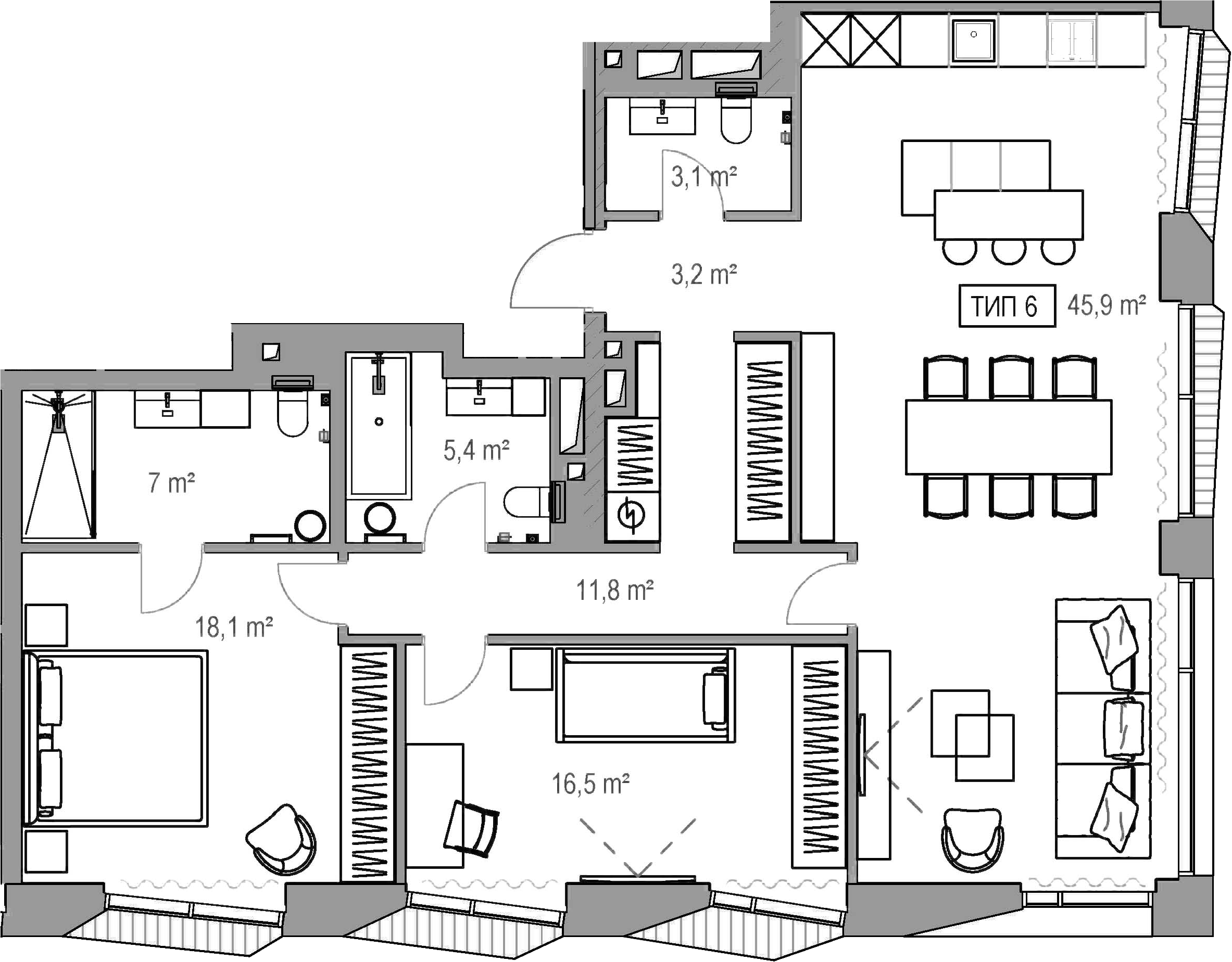 3Е-к.кв, 108.9 м²