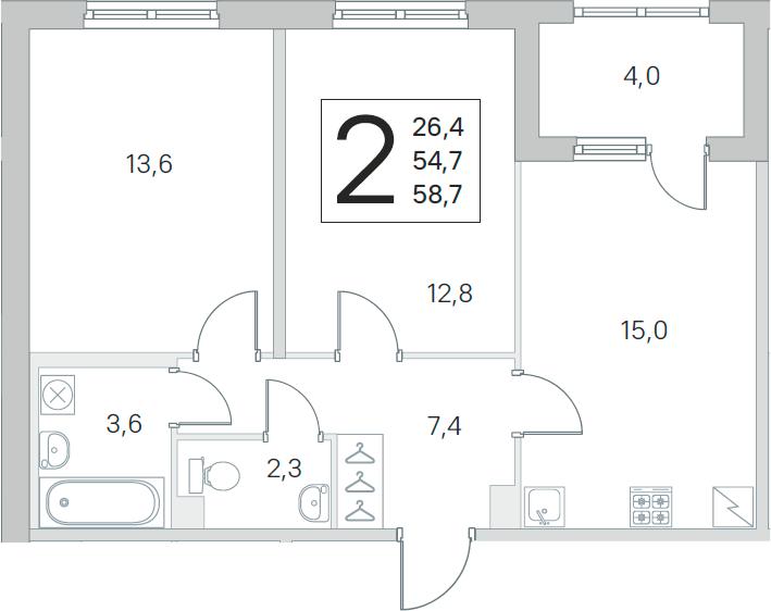 3Е-к.кв, 54.7 м², 1 этаж