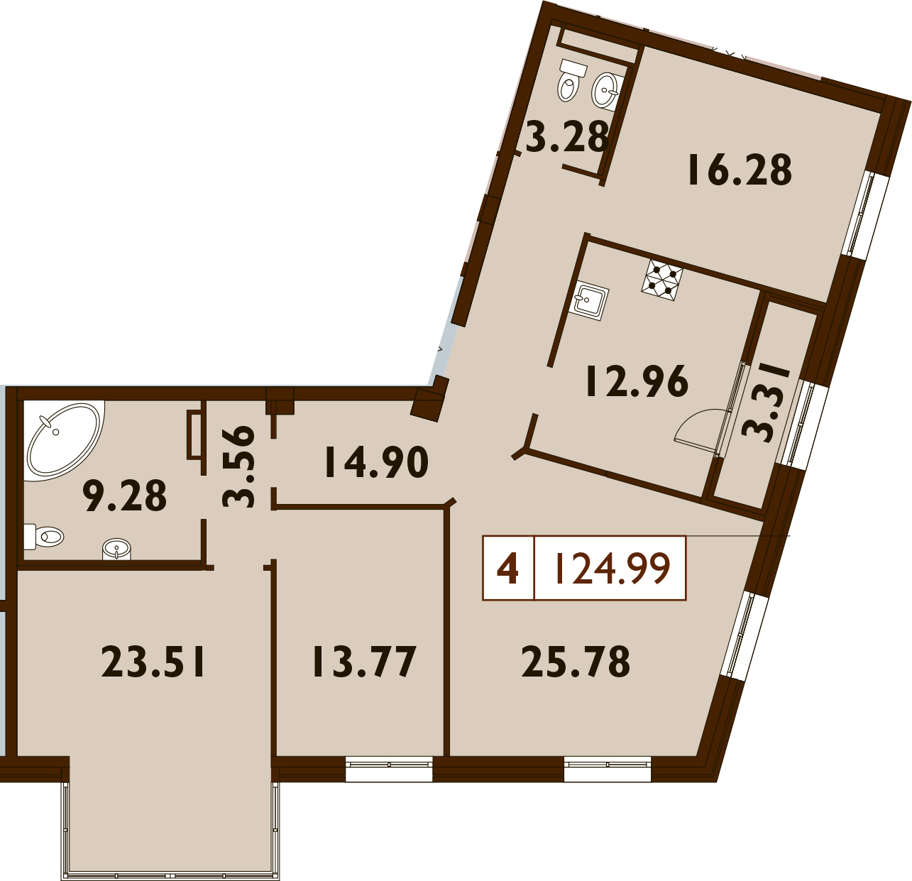 4-к.кв, 124.99 м²
