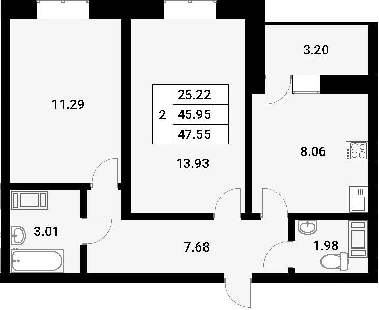 2-к.кв, 49.15 м²