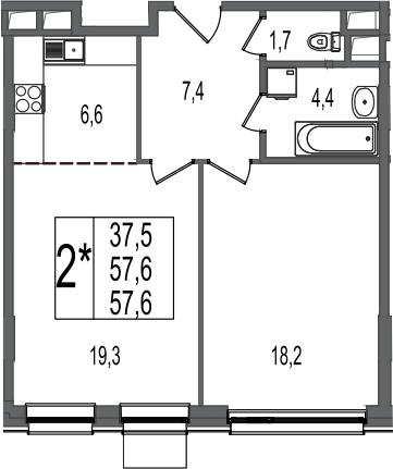 2-к.кв (евро), 57.6 м²