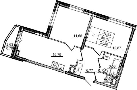 3Е-к.кв, 52.8 м²