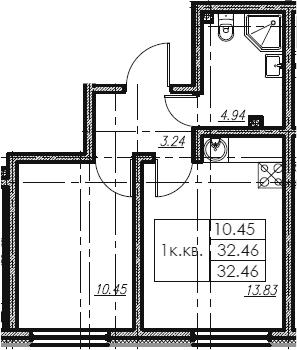 1-к.кв, 32.46 м²