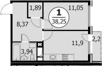 1-комнатная, 38.25 м²– 2