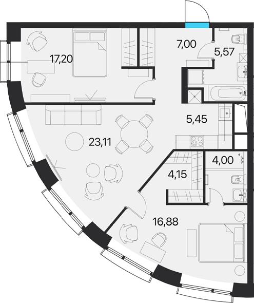 3Е-к.кв, 83.36 м², от 14 этажа