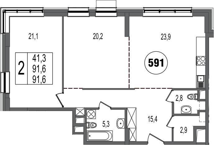3-к.кв (евро), 91.6 м²