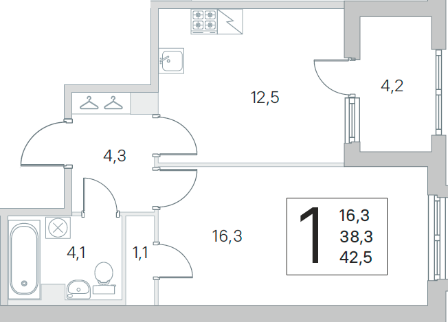 1-к.кв, 38.3 м²